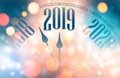 Zamazany błyszczący nowego roku 2019 plakat z zegarem ilustracja wektor