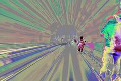 Zamazany backround ruszać się futurystycznego eskalator Abstrakt Obraz Royalty Free