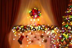 Zamazany Bożenarodzeniowy pokój Zaświeca tło, De Skupiający się Xmas światło fotografia stock