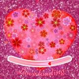 Zamazany bokeh światła tło, rozjarzeni różowi serca Obrazy Royalty Free