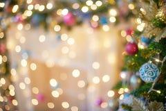 Zamazany girlandy światła bokeh Boże Narodzenie plamy wzór, defocused tło obrazy stock