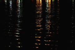 Zamazany kolorowy światła odbicie na wody powierzchni z rzek falami i ciemnym tłem obraz royalty free