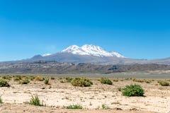 Zamazany tło Atacama pustyni krajobraz z nakrywającymi Andyjskimi wulkanami, solankowym mieszkaniem i niektóre roślinnością na ho obrazy royalty free