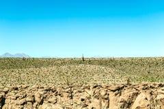 Zamazany tło Atacama pustyni krajobraz z nakrywającymi Andyjskimi wulkanami, solankowym mieszkaniem i niektóre roślinnością na ho obrazy stock