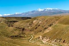 Zamazany tło Atacama pustyni krajobraz z nakrywającymi Andyjskimi wulkanami, solankowym mieszkaniem i niektóre roślinnością na ho obraz royalty free