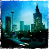Zamazany widok Warszawa przy nocą Obrazy Royalty Free