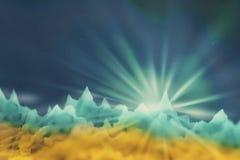 Zamazany wizerunek gwiazdowy wydźwignięcie na niewiadomej planecie w kolorze żółtym ilustracji
