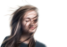 Zamazany wizerunek młoda kobieta z oczami zamykającymi Fotografia Stock