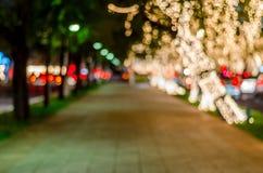 Zamazujący światła bokeh tło, abstrakcjonistyczna kurenda zaświeca bokeh zdjęcie royalty free