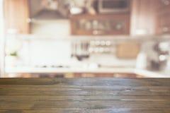 zamazujący abstrakcyjne tło Nowożytna kuchnia z tabletop i przestrzeń dla ciebie Obraz Royalty Free