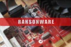 Zamazujący obwód deska z dużym mikroukładem Cyber ochrony pojęcie z ransonware Zdjęcie Royalty Free