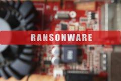 Zamazujący obwód deska z dużym mikroukładem Cyber ochrony pojęcie z ransonware Zdjęcia Stock