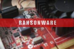 Zamazujący obwód deska z dużym mikroukładem Cyber ochrony pojęcie z ransonware Fotografia Royalty Free
