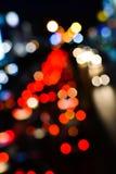 Zamazuje trffic i samochodu świateł bokeh Fotografia Stock