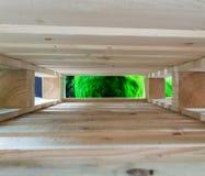 Zamazuje zielonego tekstury tło przez przestrzeni czysty drewniany kir obraz stock