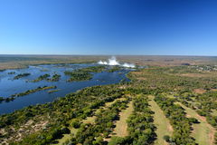 Zambesi river and Victoria Falls. Zimbabwe Royalty Free Stock Images