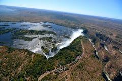 Aerial view of Zambezi river and Victoria Falls. Zimbabwe