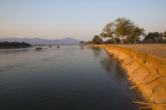 Zambezi banks landscape. The bank of the Zambezi river Stock Images
