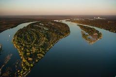 Zambezi flod från luften Fotografering för Bildbyråer