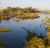 Zambezi-Fluss szenisch lizenzfreie stockbilder