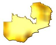 Zambia 3d Golden Map Royalty Free Stock Photos