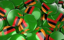 Zambia Badges Background - Pile of Zambian Flag Buttons. Stock Images