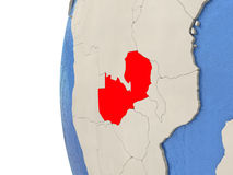 Zambia on 3D globe Stock Photo