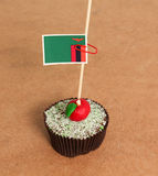 Zambia flag on a apple cupcake Stock Photography