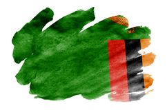 Zambia flag is depicted in liquid watercolor style isolated on white background. Careless paint shading with image of national flag. Independence Day banner stock photography