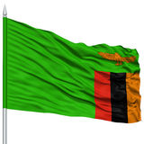 Zambia Flag on Flagpole Royalty Free Stock Photos