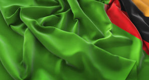 Zambia Flag Ruffled Beautifully Waving Macro Close-Up Shot. Studio Stock Photos