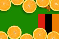 Zambia flagga i citrusfruktskivahorisontalram fotografering för bildbyråer