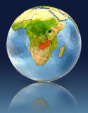 Zambia on globe with reflection. Illustration with detailed planet surface. Elements of this image furnished by NASA Stock Image
