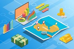 Zambia isometric financial economy condition concept for describe country growth expand - vector. Illustration vector illustration