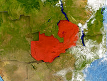 Zambia on map with clouds Royalty Free Stock Photography