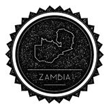 Zambia Map Label with Retro Vintage Styled Design. Hipster Grungy Zambia Map Insignia Vector Illustration. Country round sticker Stock Photos