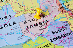 Zambia map. Macro shot of zambia map with push pin Stock Photo