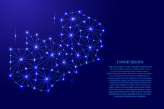 Zambia map of polygonal mosaic lines network, rays, space stars of  illustration. Stock Photo