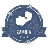 Zambia mark. Travel rubber stamp with the name and map of Zambia, vector illustration. Can be used as insignia, logotype, label, sticker or badge of the Royalty Free Stock Image