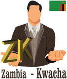 Zambia national currency symbol kwacha representing money and Flag. Royalty Free Stock Images