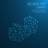 Zambia network map. Royalty Free Stock Images