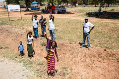 ZAMBIA - OCTOBER 14 2013: Local people go about day to day life Stock Images
