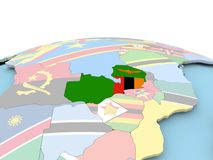 Flag of Zambia on bright globe. Zambia on political globe with embedded flags. 3D illustration Royalty Free Stock Images