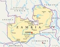 Zambia Political Map Stock Image