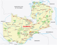 Zambia road and national park map Stock Photos