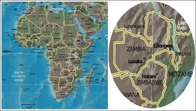 Zambia Zimbabwe Malawi and Africa map Royalty Free Stock Photography