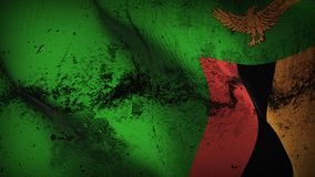 Zambia grunge dirty flag waving on wind. stock photos