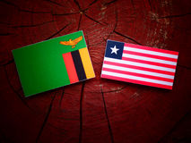 Zambian flag with Liberian flag on a tree stump isolated. Zambian flag with Liberian flag on a tree stump Royalty Free Stock Photos