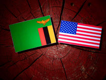 Zambian flag with USA flag on a tree stump  Stock Photography