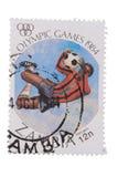 ZAMBIOWIE - OKOŁO 1984: znaczek foki w uwolnieniu Olimpijski G Zdjęcie Stock